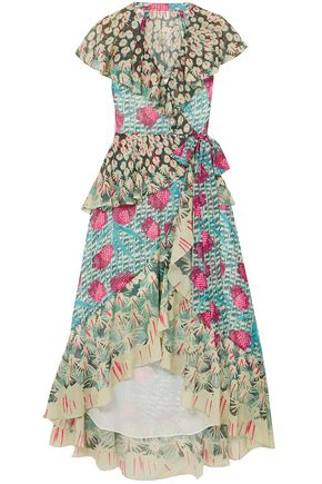 TEMPERLEY LONDON Ruffled printed jacquard midi wrap dress