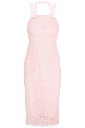 REBECCA VALLANCE Open-back guipure lace midi dress