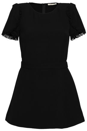 MAJE Lace-trimmed stretch-crepe playsuit
