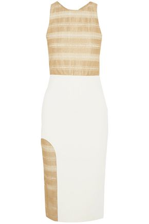 HANEY Metallic georgette-paneled stretch-ponte midi dress