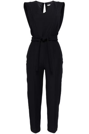 MAJE Belted cotton-blend jumpsuit