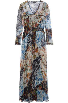LOVE SAM Crochet-trimmed printed georgette maxi dress