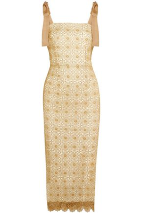 REBECCA VALLANCE Metallic guipure lace midi dress