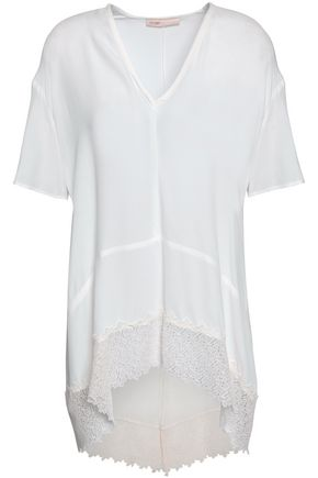 MAJE Lace-trimmed crepe de chine top