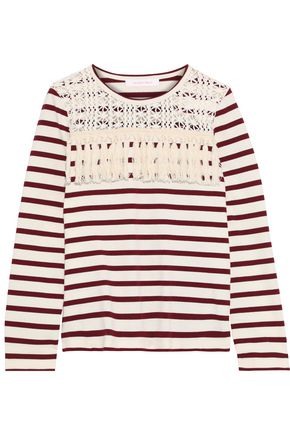 SEE BY CHLOÉ Macramé-paneled fringe-trimmed striped cotton top