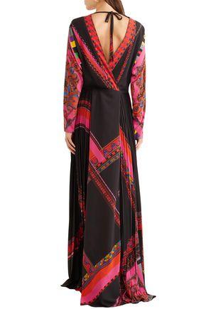 ETRO Wrap-effect pleated printed crepe de chine maxi dress