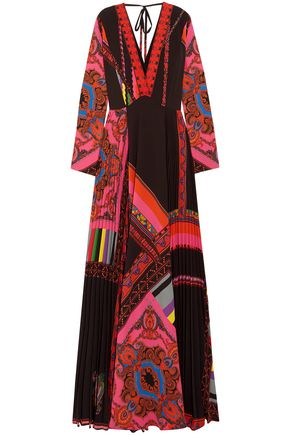 ETRO Wrap-effect pleated printed crepe de chine maxi dress