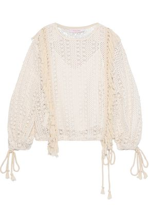 SEE BY CHLOÉ Tassel-trimmed crocheted sweater