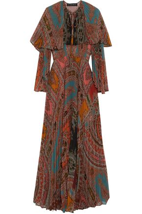 ETRO Layered pleated printed georgette maxi dress