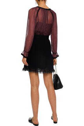 LOVE SAM Crochet-trimmed gathered georgette blouse