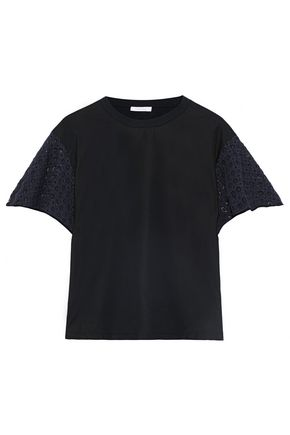 SEE BY CHLOÉ Two-tone crochet-paneled cotton-jersey T-shirt