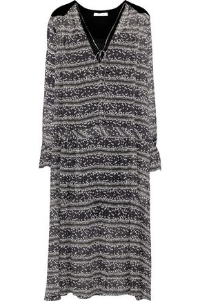 SEE BY CHLOÉ Chenille-paneled floral-print georgette midi dress