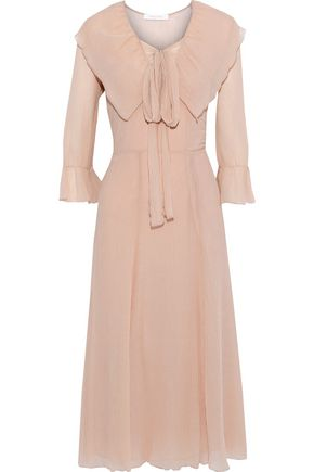 SEE BY CHLOÉ Pussy-bow ruffled cotton-gauze midi dress
