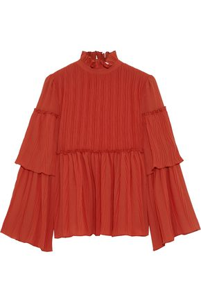 SEE BY CHLOÉ Ruffle-trimmed gathered gauze blouse