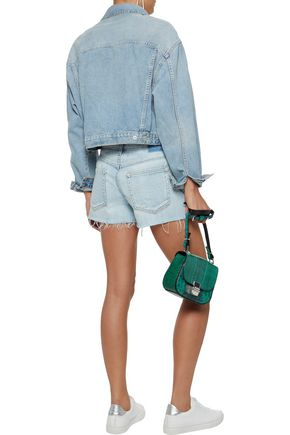 AMO Babe embroidered frayed denim shorts