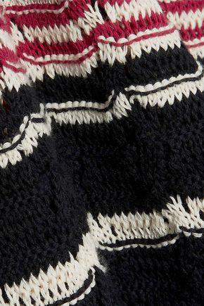 REDValentino Ruffle-trimmed striped crocheted cotton mini dress