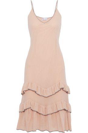 REDValentino Tiered ribbed cotton-blend slip dress