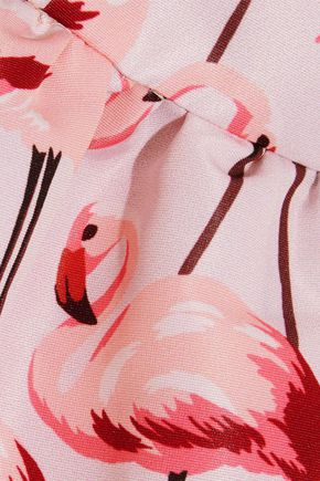 REDValentino Ruffle-trimmed printed faille halterneck mini dress