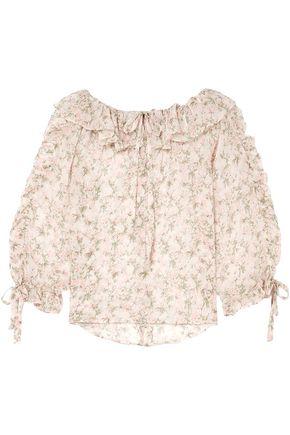 Ruffled Floral Print Silk Georgette Blouse by Paul & Joe