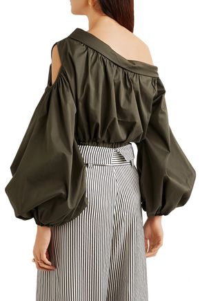 SILVIA TCHERASSI Cropped cutout cotton-blend top