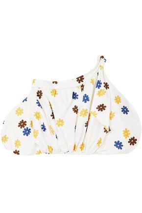 SILVIA TCHERASSI Off-the-shoulder floral-print cotton-blend top