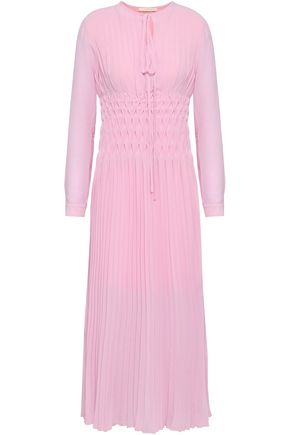 MAJE Pleated crepe de chine midi dress