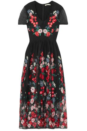 MAJE Embroidered tulle midi dress