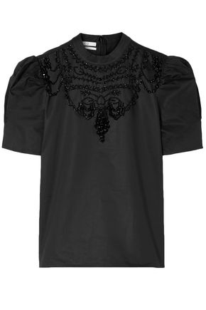 CO Bead-embellished cotton-poplin top
