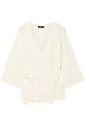 THEORY Rosina crepe wrap top