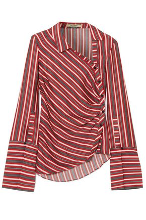 HELLESSY Wyatt asymmetric striped silk and cotton-blend top