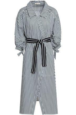 MAJE Belted striped cotton wrap dress