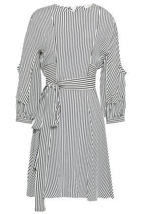 MAJE Belted striped woven mini dress