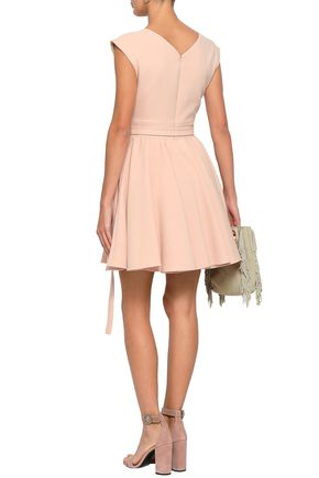MAJE Rimea belted stretch-crepe mini dress