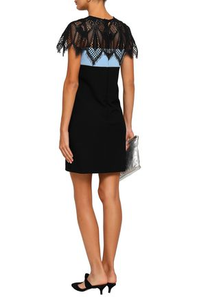 MAJE Rocaille lace-paneled two-tone stretch-crepe mini dress