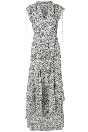 VERONICA BEARD Ruched printed silk-chiffon maxi dress