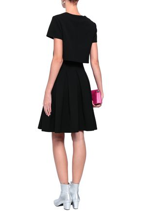 MAJE Rozane layered pleated stretch-crepe dress