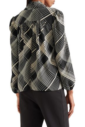 CO Pussy-bow checked hammered-silk blouse