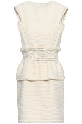 MAJE Rosay cotton bouclé-tweed peplum mini dress