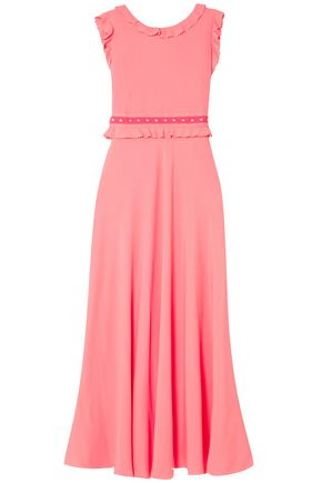 REDValentino Ruffle-trimmed studded crepe de chine maxi dress