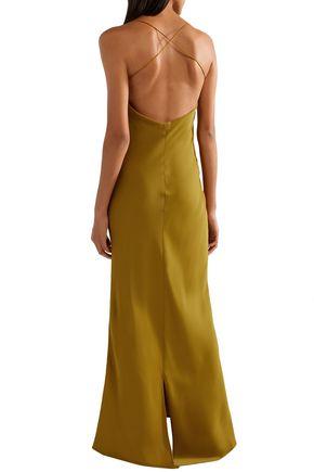 KHAITE Satin-crepe maxi slip dress