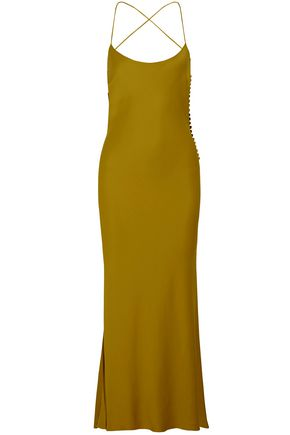 KHAITE Satin-crepe maxi slip dress