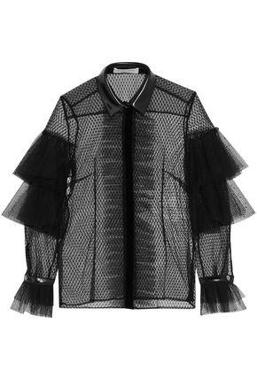 PHILOSOPHY di LORENZO SERAFINI Faux leather-trimmed ruffled point d'esprit shirt