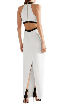 RACHEL ZOE Cutout two-tone crepe gown
