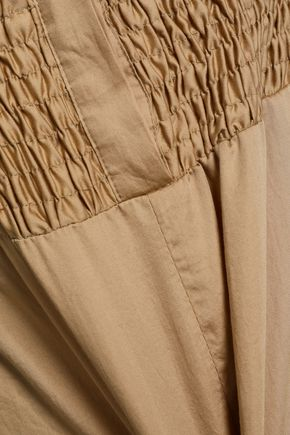 MAJE Shirred cotton-poplin playsuit