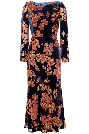 SALONI Floral-print velvet midi dress