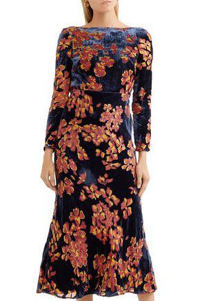 SALONI Floral-print velvet midi dress
