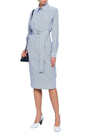 MAJE Relino striped fil coupé cotton-poplin shirt dress