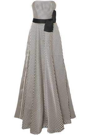 HALSTON HERITAGE Strapless striped faille gown