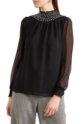MICHAEL MICHAEL KORS Crystal-embellished georgette top