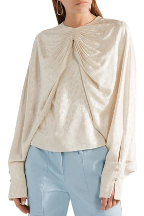 HELLESSY Draped floral-jacquard top